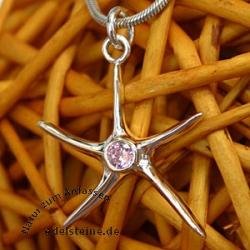 Silber-Anhaenger Stern mit rosa Zirconia