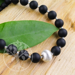 Dark Onyx bead necklace Silver