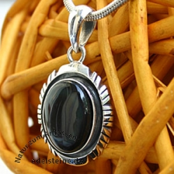 Silver Pendant with Rainbow Obsidian