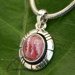 Silver Pendant with Rhodochrosite