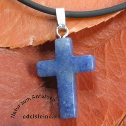 Blue Quartz Cross Pendant small