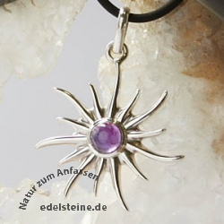 Silver Pendant Sun with Amethyste small