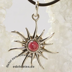 Silver Pendant Sun with Garnet small