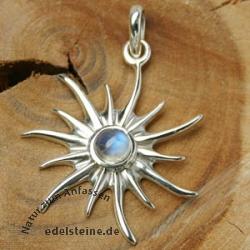 Silber-Anhaenger Sonne mit Mondstein klein