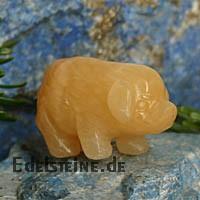 Schwein aus Orangen-Calcit 39mm