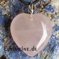 Rosenquarz Herz Anhaenger mit Oese gross 25mm
