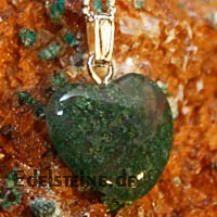 Moss Agate Heart Pendants Mini 3 pcs