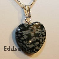 Snowflake Obsidian Heart Pendants Mini 20mm