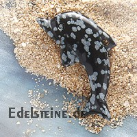 Snow Flake Obsidian Dolphin Pendant big