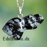 Schneeflocken-Obsidian Elefant Halbedelsteine Anhänger