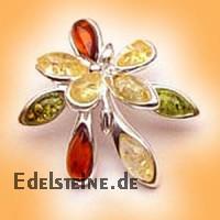 Bernstein-Silberanhaenger Flower 1707
