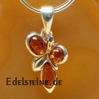 Bernstein-Silberanhaenger Flower 1753C