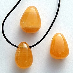 Calcit orange pendant 25-30mm Tumbled stone pendant