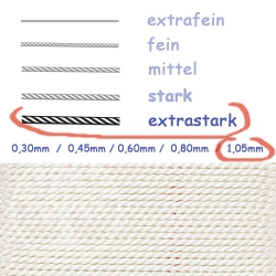 Perlseide mit Nadel Weiß 1,05mm extrastark