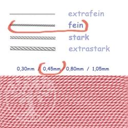 Perlseide mit Nadel Rosenquarz 0,45mm fein
