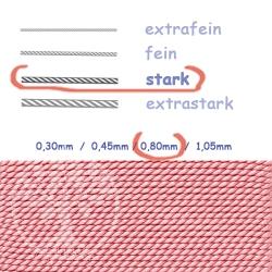 Perlseide mit Nadel Rosenquarz 0,80mm stark