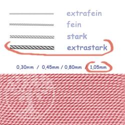 Perlseide Rosenquarz mit Nadel 1,05mm extrastark