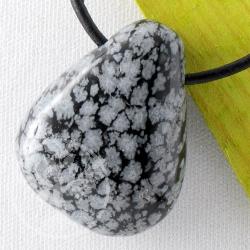 Schneeflocken Obsidian Steinanhänger 20-25mm