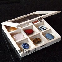 Box of wood Glas Cover. Chest box with 9 compartments and a glass lid