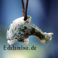 Dolphin pendant Moss Agate