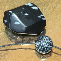 Snow Obsidian Set faceted stone and ball