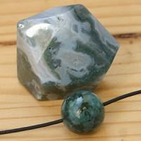 Moosachat Set facettierter Stein und Kugel