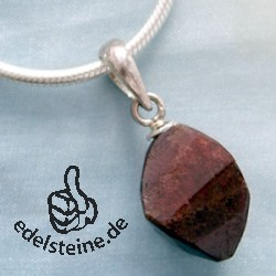 Garnet Quartz Pendant Facetted Stone and Silver 925