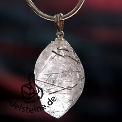 Turmalated Quartz Pendant Facetted Gemstone with Silver 925 Hook