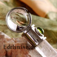 Welfare staff magic wand from rock crystal with peridot