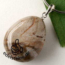 Petrified Wood pendant with loop 925