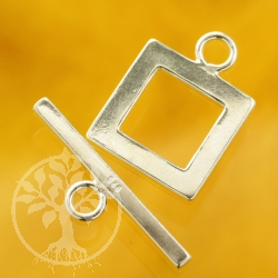 Toggle Clasp Rectangle Square Silver 925