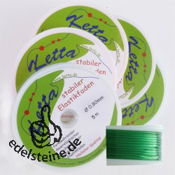5 x Elastic-Cord, 0,80 mm, green, 5 m