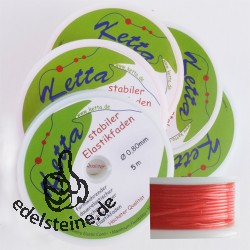 5 x Elastic-Cord, 0,80 mm, red, 5 m