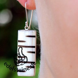 Zebra-Shell ear pendant with silver 2