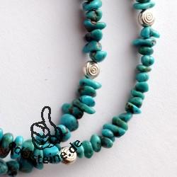 Türkis Splitterkette mit Silber 925 Perlen 4