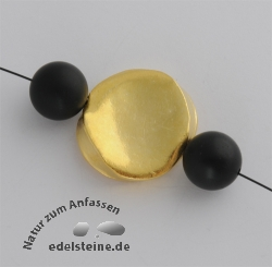 handmade bead, gold, dented disc