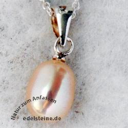 Perle als Anhänger mit Silber Rosé