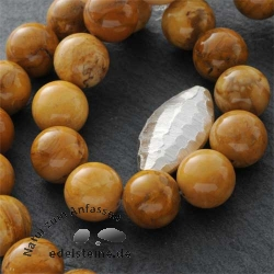Edelstein-Perlen, Ivory-Jade, 12 mm
