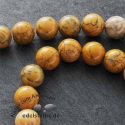 Edelstein-Perlen, gelber Moosachat, 12 mm
