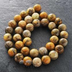 Edelstein-Perlen, gelber Moosachat, 10 mm