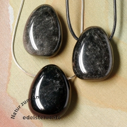 Silver Obsidian Pendant 3 pieces