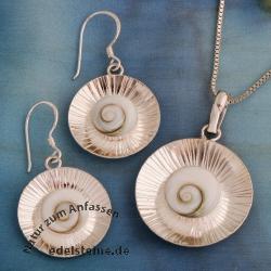 Shiva-Muschel Silberschmuck SET SHCSET01 gestreift