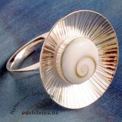 Shiva Muschel Ring verstellbar Silber 925