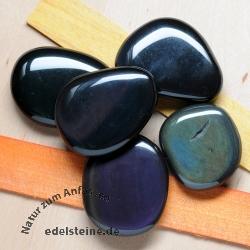 Rainbow Obsidian soapstone flat stone 5 Pieces