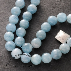 Gemstone-Beads, Aquamarine, ball, 10 mm