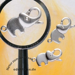 Karabiner-Verschluß Elefant, 20 mm, 925er  Silber, 3 Stück