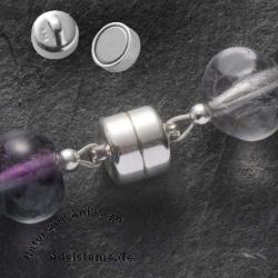 Magnetverschluß klein, echtes Silber 925, 6 mm, Button