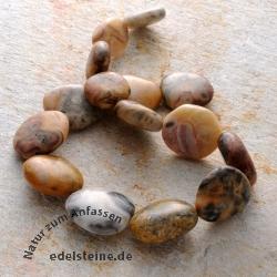 Edelstein-Perlen, Crazy Lace, flach getrommelt 20x30 mm