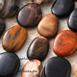 Edelstein-Perlen, Versteinertes Holz, flach getrommelt