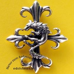 Silber Kreuz-Anhänger Wolf  Silberschmuck 925 Kreuz mit Wolf
